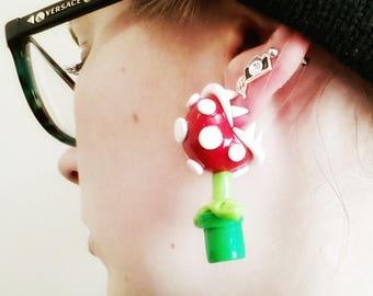 Piranha Plant Biting Earrings Polymer Clay Mario