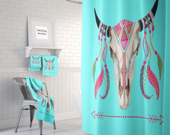 Boho Chic Shower Curtain, Bath Towels, Bath Mat , Turquoise Pink  Bull Skull Arrows