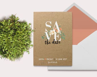 Australian Native Flowers - Floral Save The Date - Kraft Paper Invitation - Save The Date Rustic - Save The Date Ideas - Rustic Invitations
