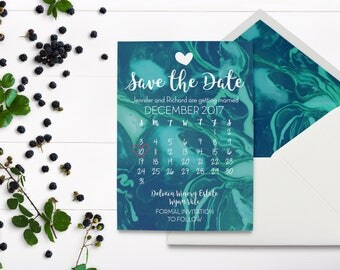 Marble Wedding Invitation - Marble Save the Date - Calendar Save The Date - Paint Marble Invitation - Marble Invitations - Marble Stationary