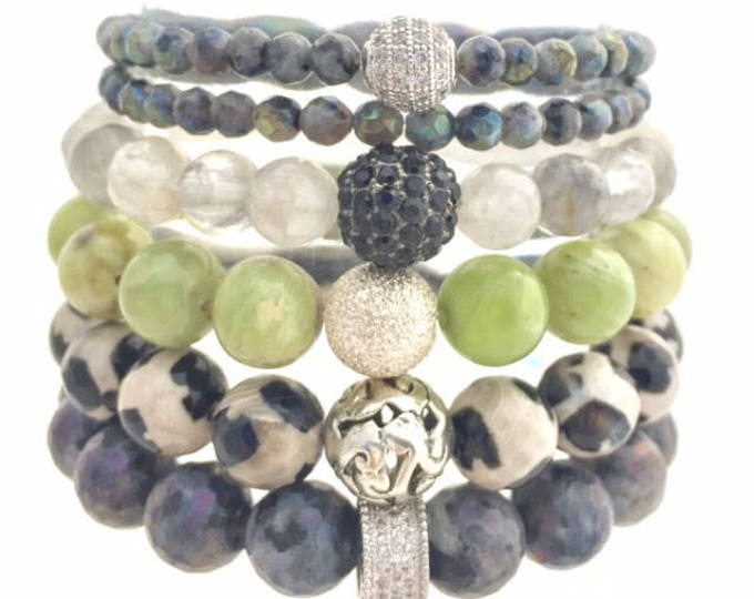 Full Gemstone Bracelet Stack - Healing and Grounding Bracelet Stack