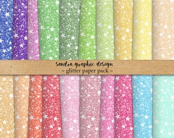 "Glitter digital paper ""RAINBOW GLITTER STARS"" stars digital paper, glitter backgrounds, glitter textures in rainbow colors (1283)"