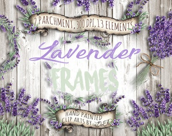 Watercolor Lavender Clipart Frames Vintage Lavandula Clip Art Flower Purple Rustic Wedding Invitation Illustration Wreath Frame Wreath Dried