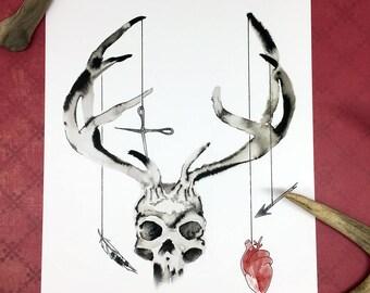 8x10 Wendigo Skull Giclee Art Print Macabre Horror Wall Art