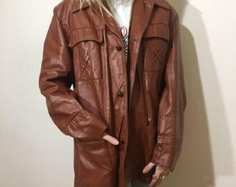 Vtg 70s Brown Leather Jacket - Large Mens - 1970s - Size 42 - Vintage Clothing - Old School Clothing - Leather Coat - Mens Jacket -