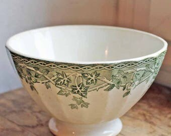 Antique bowl for coffee made by Saint amand, end of 19th century no damage French cafè au lait bowl Ivy transfert