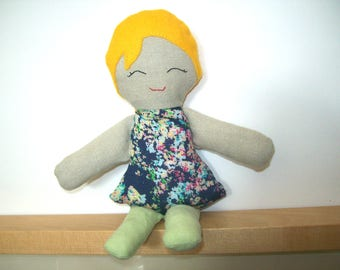 Ragdoll made hand - blue dress with flowers