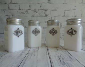 Vintage Hazel Atlas Range Shaker Set, Black on White Badge, Four 4 Shaker Set, Salt, Pepper, Sugar, Flour, Milk Glass Platonite Shaker Set