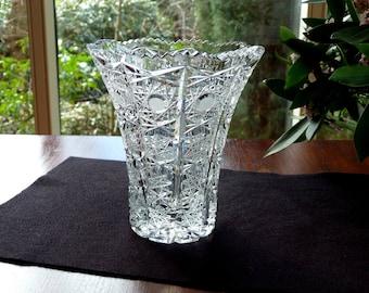 Vintage Crystal Vase ... Super Elegant Shape ... Home Decor ... Wedding Gift