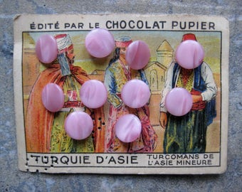 vintage french pink buttons, publicity card, vintage haberdashery, vintage sewing notions, collage, scrapbooking