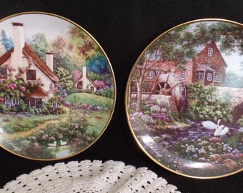 Collectible Plates  A Cozy Glen  Olde Mill Cottage  By Violet Schwenig for Franklin Mint  Signed and Numbered  Limited Edition