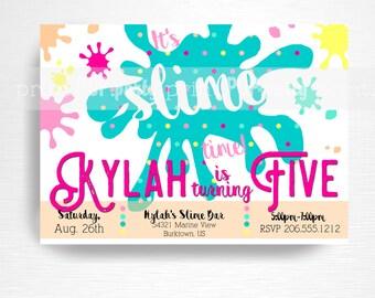 Slime Birthday Party Printable Invitation YOU Print Bright Rainbow Slime Foam Beads