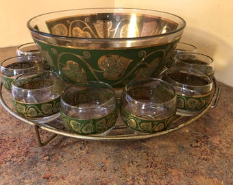 Amazing Vintage 1960s Culver Leaf and Vine Gold and Green Punch Bowl with 12 Roly Poly Glasses in Metal Caddy