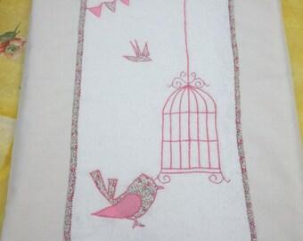 """housse de matelas à langer """"oiseau liberty""""+2 serviettes éponges interchangeables"""