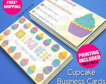 Cupcake Business Cards - Home Office Approved Fonts and Colors - Glossy or Matte