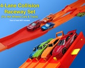 4-Lane Collision Raceway Set (Compatible with Hot Wheels Race Track & Cars) Start Gate + Clamp + 2 Lane Mergers