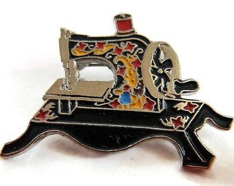 Vintage Clotilde #3 Sewing Machine Lapel Pin or Tie Tack - seamstress, collector, hat pin, loves to sew, crafter, black, gold tone, metal