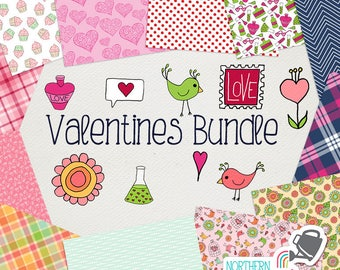 Valentine's Digital Paper and Clip Art BUNDLE - save 50% on Northern Whimsy hand drawn Valentines Day sets! Commercial use license included.