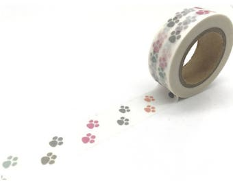 Washi tape with dog paws - Washi tape dogs paws prints
