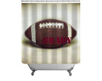 Football Shower Curtain Custom Bath Decor Dorm Bath Sports Bathroom Bold  Masculine