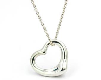 Tiffany & Co. Elsa Peretti 22mm Open Heart Pendant Necklace in Sterling Silver