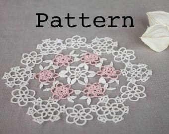 Doily tatting pattern - placemat pattern - needle tatting lace  - shuttle tatting or needle tatting DIY - tatting pattern frivolity