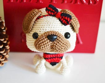 Pug Crochet Pattern. Piper The Pug Crochet Pattern. Dog Amigurumi Crochet. Pug Amigurumi Pattern. Dog Crochet. Cute Dog Pattern.