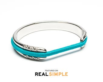 REAL SIMPLE FEATURED Hair Tie Bracelet, Hair Tie Bracelet Holder - Flower Design Steel Silver
