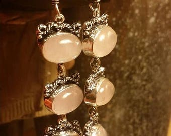 SUMMER SALE 75% Off Earrings Rose Quartz  Tribal Ethnic Gemstone  .925 Sterling  Silver  SALE