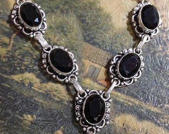 Holiday SALE 85 % OFF Black onyx Necklace  .925 Sterling  Silver  Gemstone
