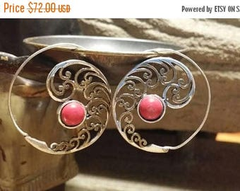 Holiday SALE 85 % OFF Red Coral  Sterling Silver  Golden Brass Hoops Earrings