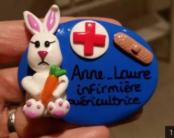 Nurse badge personalized Bunny