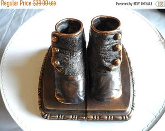55% OFF Vintage Bronzed Antique Baby Shoes Bookends* Home Decor . Heavyweight Bookends .