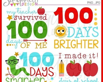 50% OFF 100 days of school clipart, school clipart, teacher clipart, classroom clipart, instant download