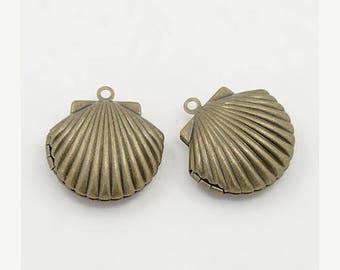 15% off SALE Bronze Shell Locket, Bronze Locket 24x22x9mm  2 Lockets, Seashell Locket, Seashore, Antique Bronze Shell Locket