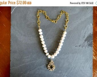 SUPER SALE Large Freshwater Pearls Beaded Strand Necklace by Debbie Renee, Crystal Rhinestone, Golden Chain, One of a Kind Pearls Gold Rhine