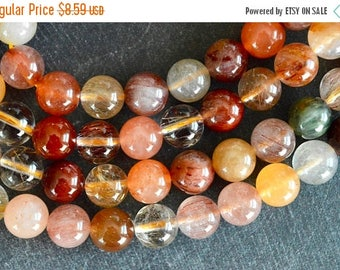 25% off SALE 8mm Rutilated Quartz Beads, Smooth Natural Gemstone Natural Stone Beads (9 beads) Red, Orange, Round Smooth Gemstone Beads Luxe