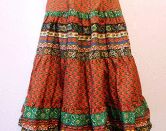 70's Vintage provence skirt - French provence cotton fabric - Size free