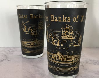 Outer Banks NC Glasses, Vintage Juice Glass set of 2 | black and gold glassware, Nags Head, souvenir glass, lighthouse, beach barware