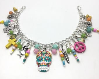 Sugar skull bracelet, day of the dead statements, womens skull bracelet, statement, sugar skull jewelry, skull charm bracelet,