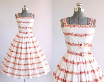 Vintage 1950s Dress / 50s Cotton Dress / Emma Domb Pink and Green Floral Party Dress w/ Rhinestones XS/S