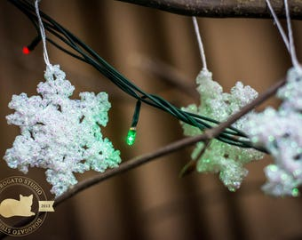 Opal Snowflakes, Glitter, Crochet Snowflakes, Sparkling Snowflakes, Shiny Christmas Ornaments, White Snowflakes, Tree Decoration, Set Of 6