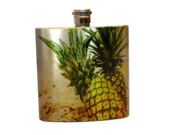 Destination Wedding Bridesmaid Gift  / Pineapple Flask / Stainless Steel Flask For Women / Hawaii Wedding Favors
