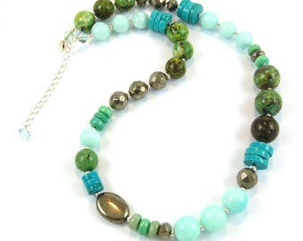 Blues & Greens Gemstone Necklace