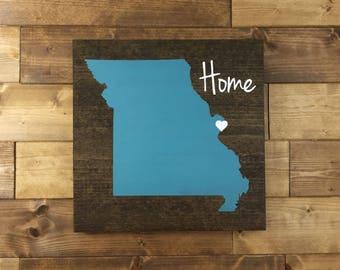 Pick Colors, Missouri Wood Sign, Missouri State Sign, Missouri decor, Missouri Sign, Missouri Home Sign, Missouri Guest Book, Missouri art