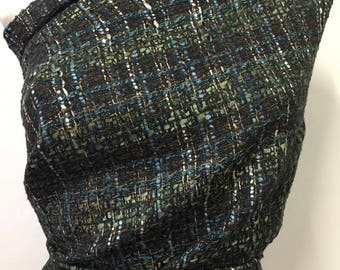 2 yards woven basket weave wool tone, purple, blue / gold, soft, fluffy and soft. LOT 87 B.