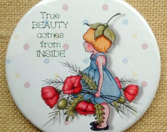 "Purse or Pocket Mirror, 3.5"", True Beauty Comes From Inside, Small Girl With Poppy Flowers, Whimsical Art, Handy Mirror in Organza Bag"