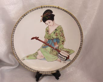 Hand Painted Ceramic Plate wall hanging Japanese Woman Playing a Lute by Sumie 1992