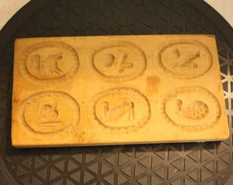 Vintage Springerle butter molds carved wood Oval wall plaques folk art style