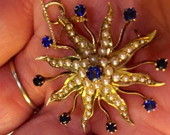 Gorgeous! 14k Solid Yellow Gold Sapphire Starburst or Sunburst Pendant can be worn as brooch!